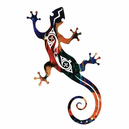 Tribal Gecko Metal Wall Art - 12 Inch