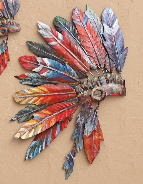 Tribal Headdress Metal Wall Art - Large