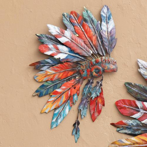Tribal Headdress Metal Wall Art - Small