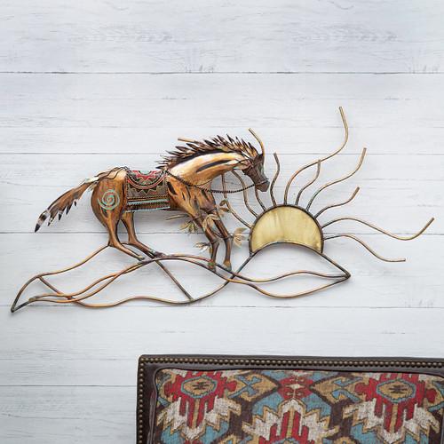 Tribal Horse & Sun Metal Wall Art