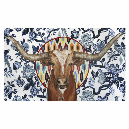 Tribal Longhorn Floral Canvas Art