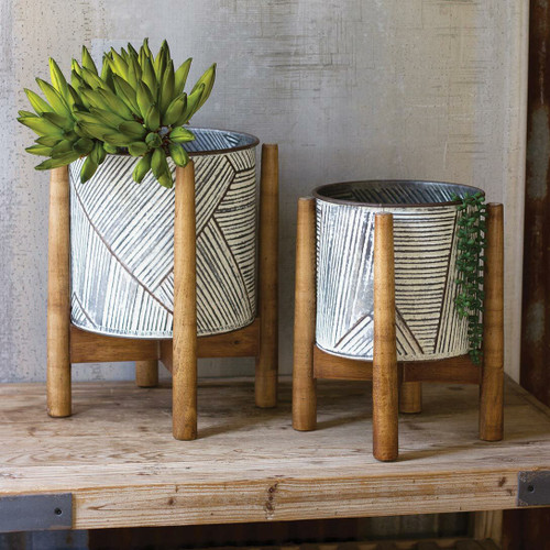 Tribal Pressed Tin Striped Planters - Set of 2