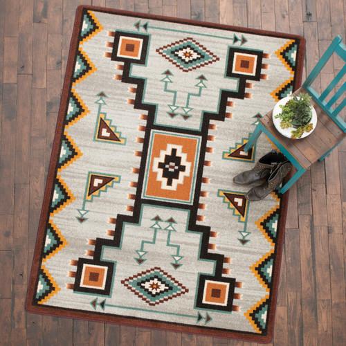 Tribal Rain Turquoise Rug - 4 x 5