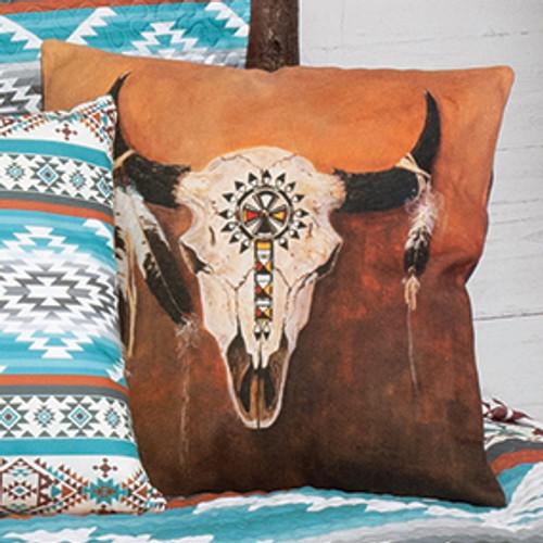 Tribal Steer Skull Pillow