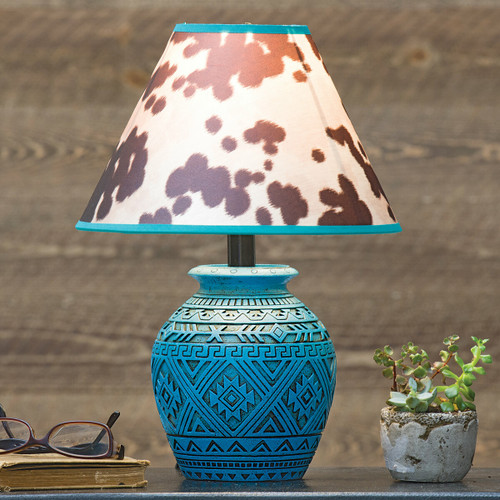 Tribal Turquoise & Cowhide Accent Lamp