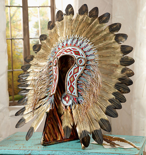 Turquoise and Red Metal Art Headdress