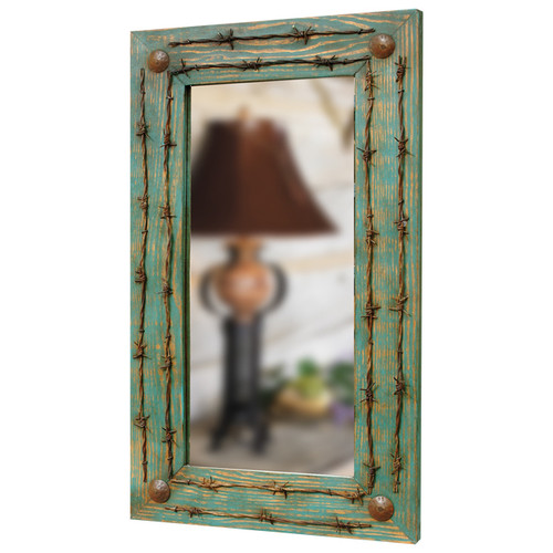 Turquoise Barbed Wire Mirror
