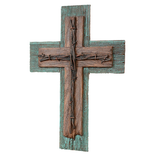 Turquoise Barbwire Wall Cross