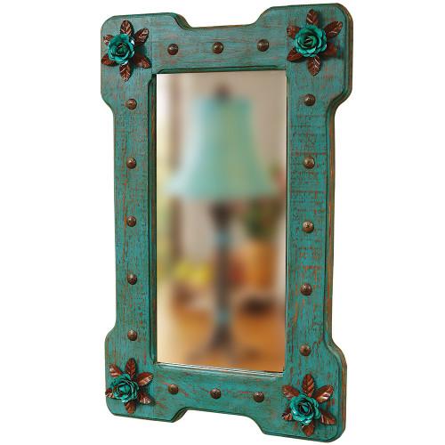 Turquoise Bloom Mirror