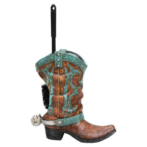 Turquoise Boot Toilet Brush Holder