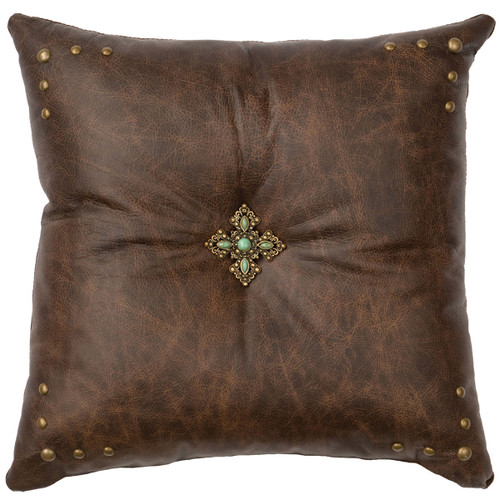 Turquoise Cross Concho Leather Pillow - Fabric Back
