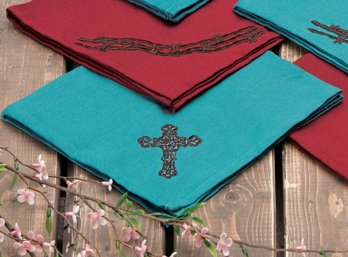 Turquoise Cross Napkin Set - 4 pcs