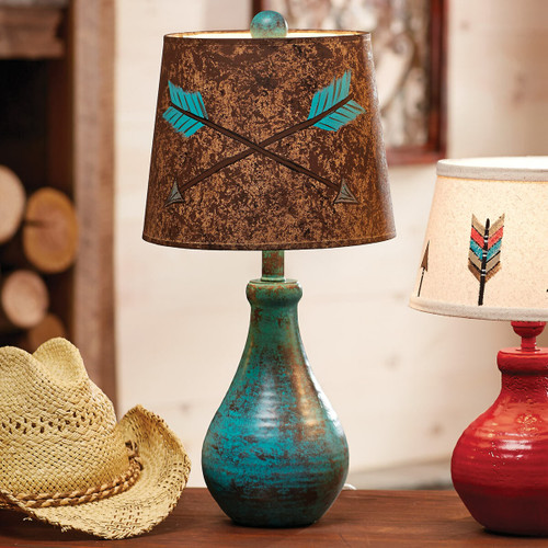 Turquoise Crossed Arrows Table Lamp