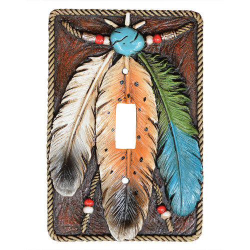 Turquoise Feather Single Switch Plate