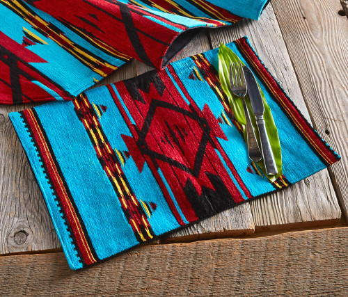 Turquoise Flame Chenille Placemat