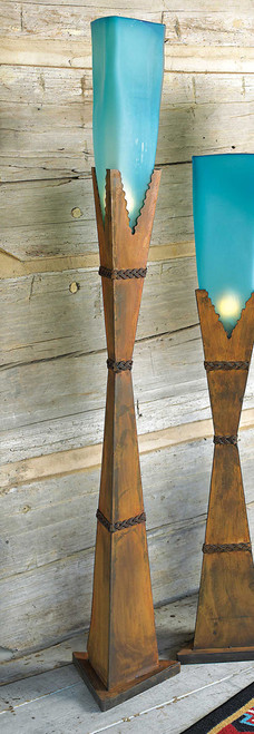 Turquoise Glass Floor Lamp - Large
