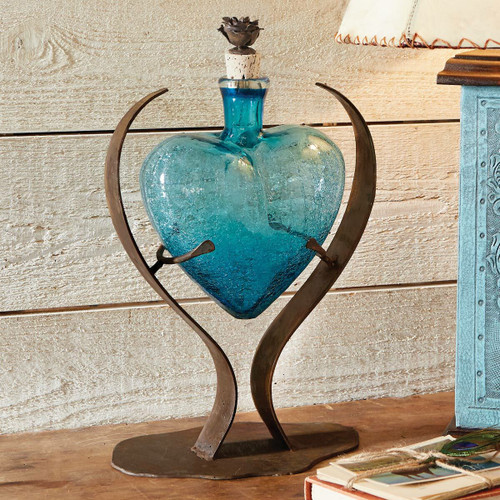 Turquoise Heart Glass Art Decanter
