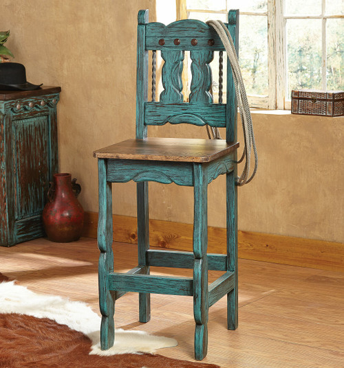 Turquoise Santa Fe Barstools - Set of 2
