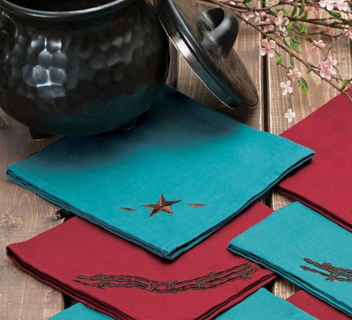 Turquoise Star Napkin Set - 4 pcs