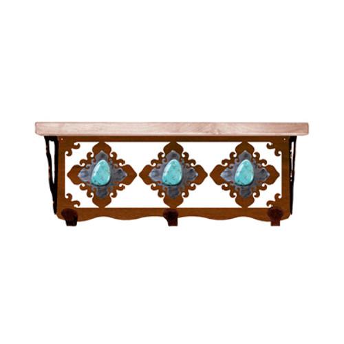Turquoise Stone 20 Inch Pine Hook Shelf