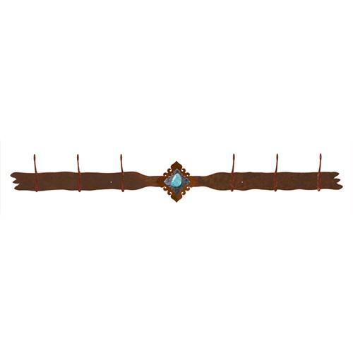 Turquoise Stone 6 Hook Coat Rack