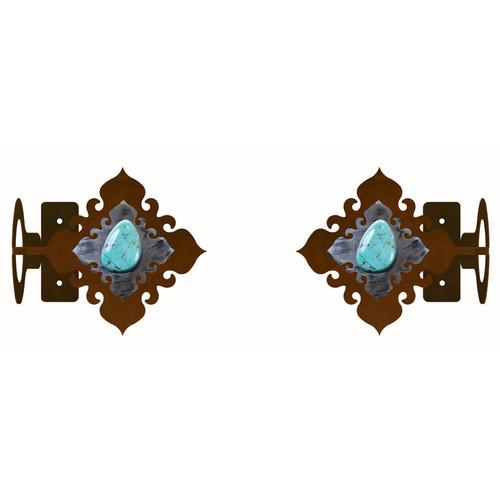 Turquoise Stone Rod Brackets - Set of 2