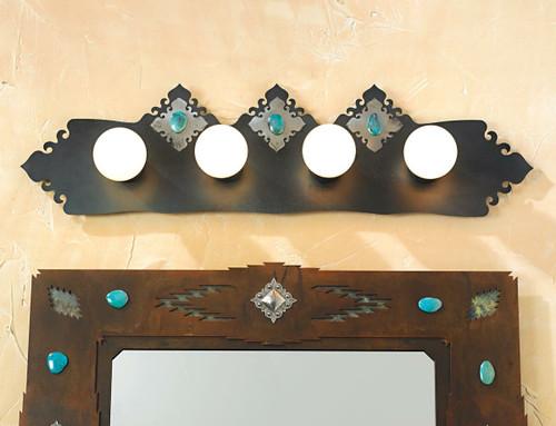 Turquoise Stone Vanity Fixture - 4 Light