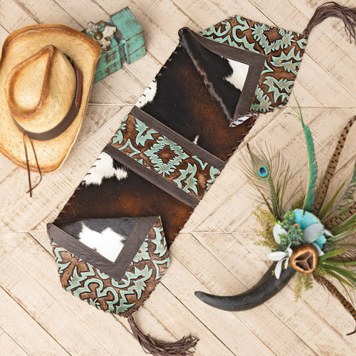 Turquoise Tooled Leather & Cowhide Table Runner - 14 x 72