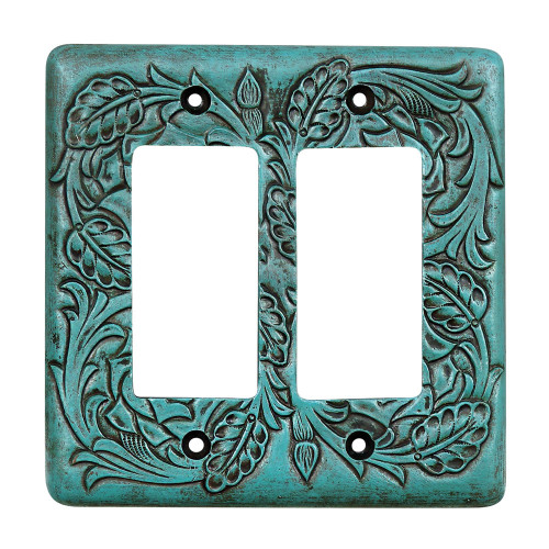 Turquoise Tooled Leather Double Rocker Cover
