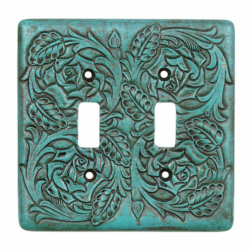 Turquoise Tooled Leather Double Switch Cover