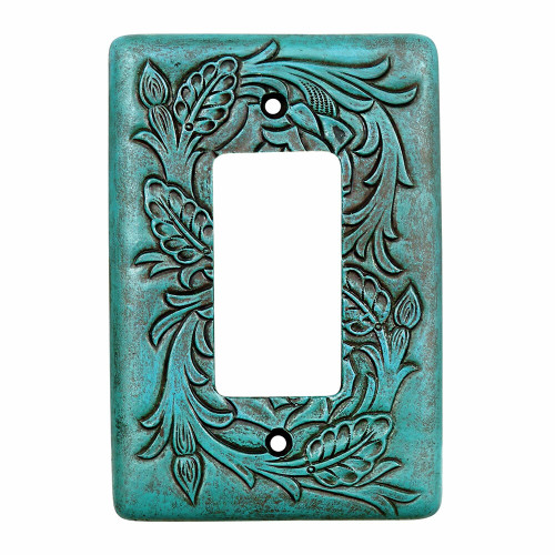 Turquoise Tooled Leather Single Rocker Cover