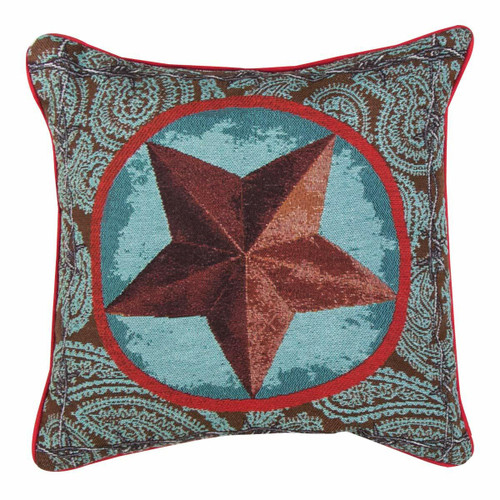 Turquoise Western Star Tapestry Pillow