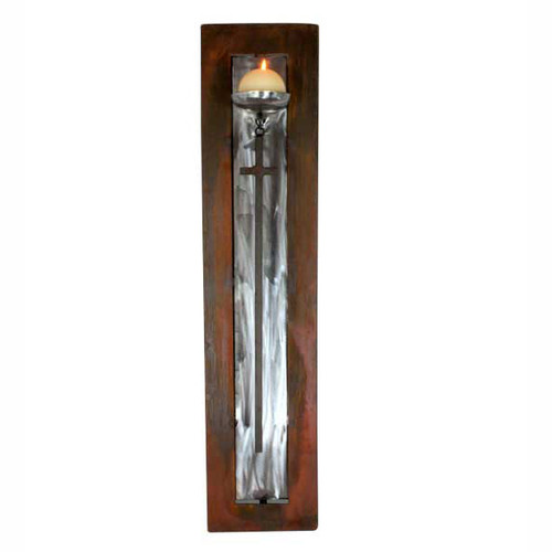 Two-Toned Candle Holder with Iron Hanging Cross and Candle