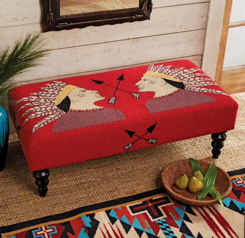 Two Warriors Hooked Wool Bench