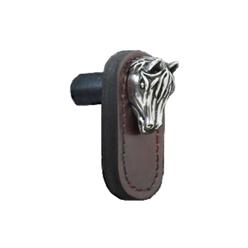 Leather Knob with Pewter Horse