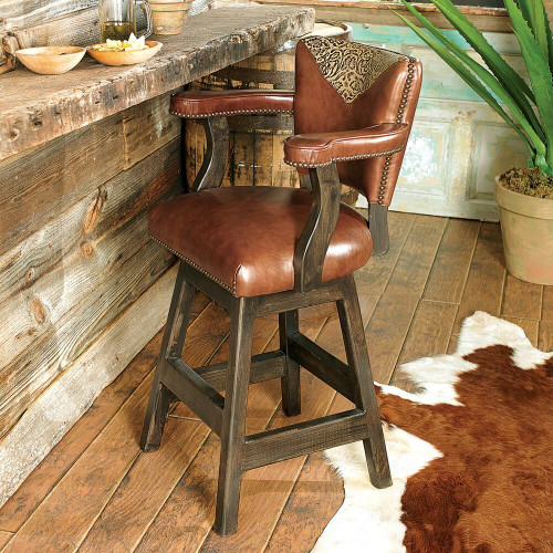 Waller Western Tooled Leather Barstool