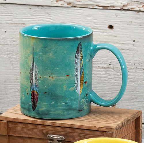 Watercolor Feathers Mugs - Set of 4