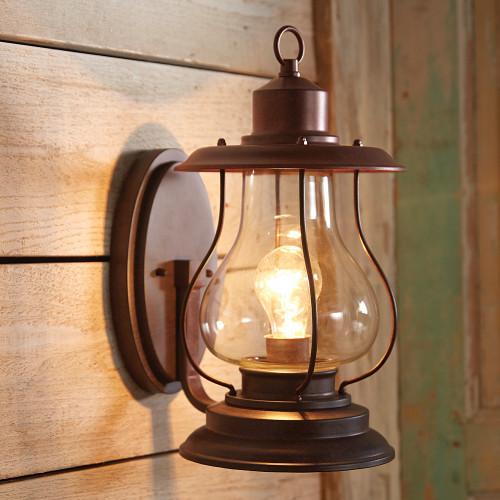 Weathered Patina Lantern Wall Sconce - 6 Inch