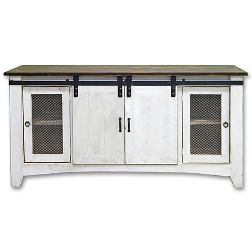 Weathered White Screen Door TV Stand