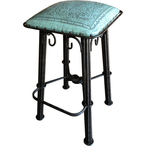 Western Iron Bar Stool - Colonial Turquoise