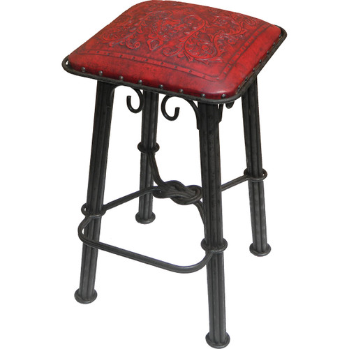 Western Iron Barstool - Colonial Red