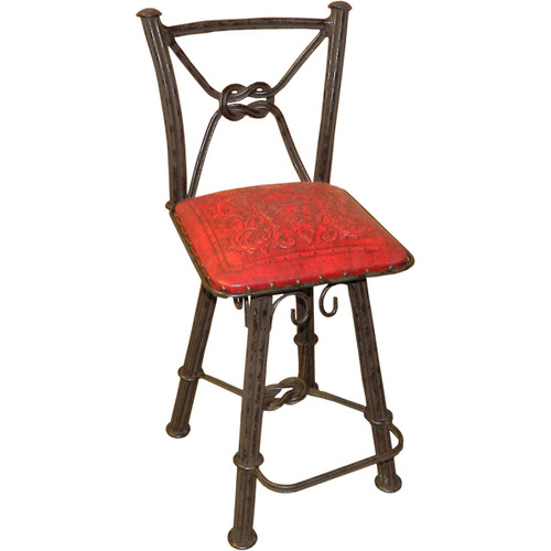 Western Iron Barstool with Back & Swivel - Colonial Red