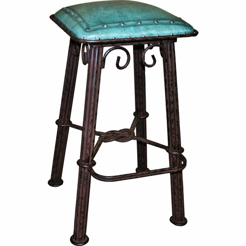 Western iron Counter Stool - Turquoise