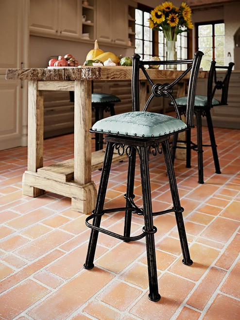 Western Iron Counter Stool with Back & Swivel - Colonial Turquoise
