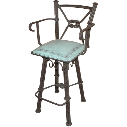 Western Iron Counter Stool with Back & Swivel - Turquoise