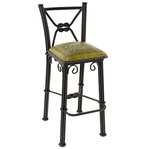Western Iron Mustard Counter Stool with Back - Bronco - Set of 2