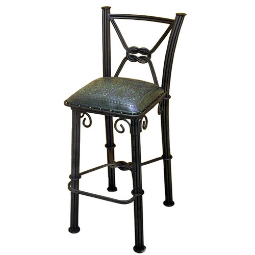 Western Iron Sage Green Barstool with Back - Colonial - Set of 2