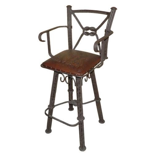 western iron barstool w/back w/swivel w/arms colonial