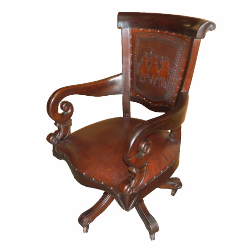 Western Office Chair with Posse Tooled Leather