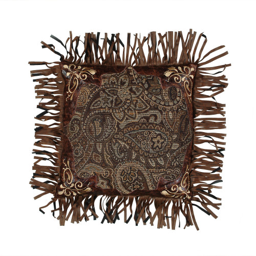 Western Paisley Beaumont Embroidered Fringed Pillow